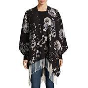 Liz Claiborne® Floral Print Scarf with Fringe