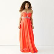My Michelle® Strapless Embellished Long Slim Dress