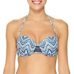 Ambrielle Chevron Bandeau Swimsuit Top