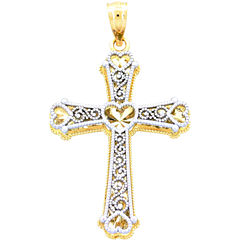 14K Two-Tone Gold Heart Cross Pendant