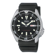 Seiko® Mens Black Dial Rubber Band Automatic Dive Watch SKX173