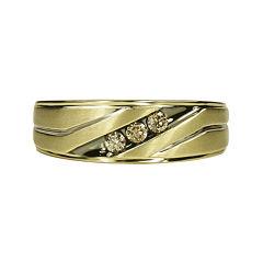 Mens 1/5 CT. T.W. Champagne Diamond 10K Yellow Gold 3-Stone Slant Wedding Band