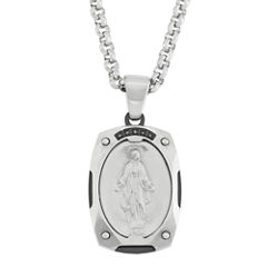 Color-Enhanced Black Diamond-Accent Stainless Miraculous Mary Medal Pendant