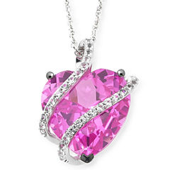 Lab-Created Pink & White Sapphire Crossover Heart Pendant Necklace in Sterling Silver