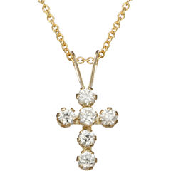 10K Gold Cubic Zirconia Cross Pendant Necklace