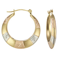 Tri-Tone 14K Gold Patterned Hoop Earrings