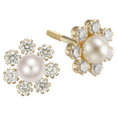 Girls Pearl & Cubic Zirconia Flower Stud Earrings