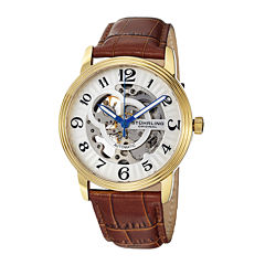 Stührling® Original Mens Brown Leather Strap Skeleton Automatic Watch