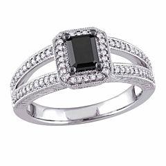 Midnight Black Womens 7/8 CT. T.W. Emerald Black Diamond 10K Gold Engagement Ring