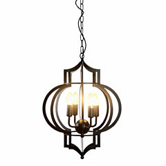 Warehouse Of Tiffany Addison 4-light Black-finished 17-inch Chandelier with Bulbs