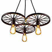 Warehouse Of Tiffany Serapiko 3-light Antique Bronze 20-inch Edison Chandelier with Light Bulb
