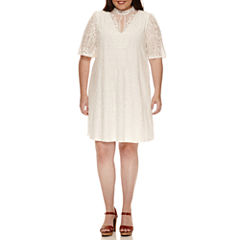 My Michelle Lace Flutter Short Sleeve A-Line Dress-Juniors Plus