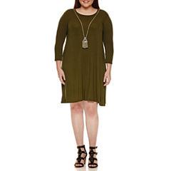 City Triangle 3/4 Sleeve A-Line Dress-Juniors Plus