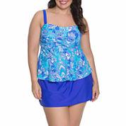Aqua Couture Solid Bandeau Swimsuit Top or Swim Skirt-Plus
