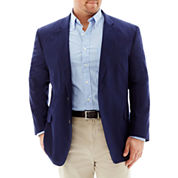 Stafford Linen-Cotton Bold Navy Sport Coat-Portly