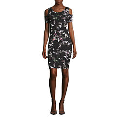 Belle + Sky Short Sleeve Cold Shoulder Bodycon Dress