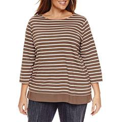 St. John's Bay 3/4 Sleeve Boat Neck T-Shirt-Plus