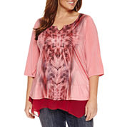 Unity World Wear 3/4 Sleeve Chiffon  Layered Top Plus