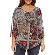Unity World Wear 3/4 Sleeve V Neck Woven Peasant Blouse-Plus