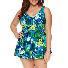 Le Cove Floral Swim Dress - Plus