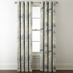 Liz Claiborne Kathryn Floral Room Darkening Grommet-Top Curtain Panel