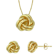 10K Yellow Gold Love Knot Pendant Necklace and Stud Earring Set