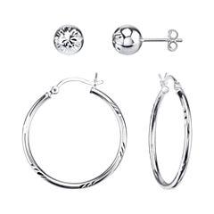 Sterling Silver Diamond-Cut Hoop and Stud Earring Set
