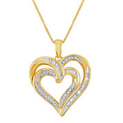 1/4 CT. T.W. Diamond 14K Yellow Gold Over Sterling Silver Double-Heart Pendant