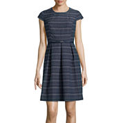 Liz Claiborne® Cap-Sleeve Stripe Fit-and-Flare Dress