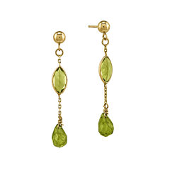 Genuine Peridot 14K Yellow Gold Genuine Peridot Drop Earrings