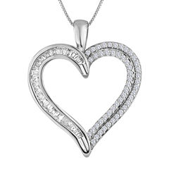 1/3 CT. T.W. Diamond 10K White Gold Heart Pendant Necklace