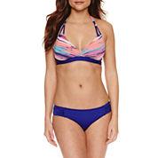 Liz Claiborne Stripe Banded Halter or Navy Swim Bottoms