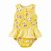 Carter'S Girls One Piece Sunsuit Yellow Swimsuit-Baby
