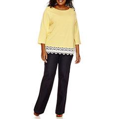 St. John's Bay® Lace-Hem T-Shirt or Bi-Stretch Pants - Plus
