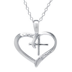 Silver Treasures™ Cubic Zirconia Sterling Silver Cross Heart Pendant Necklace