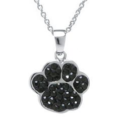 Black Crystal Silver-Plated Paw Pendant Necklace