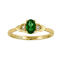 Genuine Emerald and Diamond-Accent 14K Yellow Gold Ring