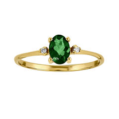 Genuine Emerald Diamond-Accent 14K Yellow Gold Ring