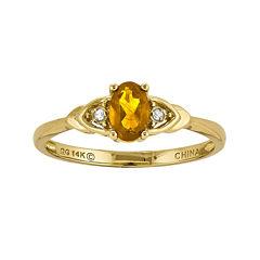 Genuine Yellow Citrine Diamond-Accent 14K Yellow Gold Ring