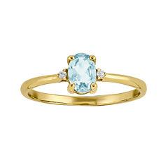 Genuine Aquamarine Diamond-Accent 14K Yellow Gold Ring