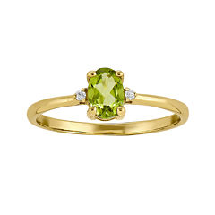 Genuine Peridot Diamond-Accent 14K Yellow Gold Ring