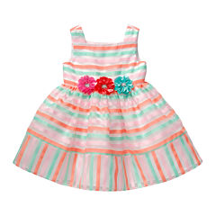 Youngland® Sleeveless Striped Floral Dress - Toddler Girls 2t-4t