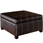 Kelby Bonded Leather Storage Ottoman