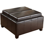 Marcus Bonded Leather Tray-Top Storage Ottoman