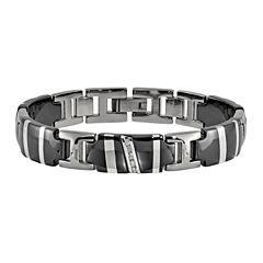 Edward Mirell Black Ti™ Mens 8.5 Inch 1/10 CT. T.W. Black Diamond Sterling Silver Titanium Link Bracelet