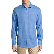 Claiborne Long Sleeve Linen Button-Front Shirt
