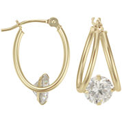 Cubic Zirconia Hoop Earrings 14K Gold