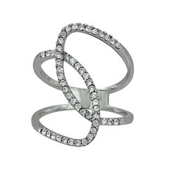 Sterling Silver Crystal Intertwined Circle Ring