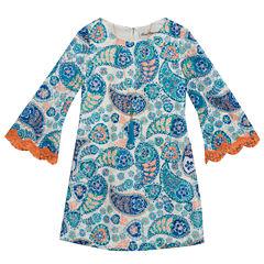 Rare Editions Long Sleeve Bell Sleeve Skater Dress - Preschool Girls