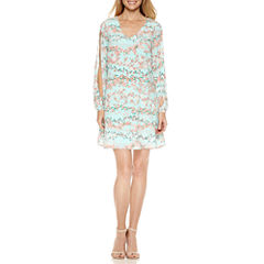 Worthington Split Long Sleeve Shift Dress